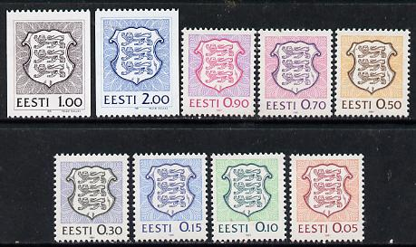 Estonia 1991 Arms def set of 9 values unmounted mint, SG 161-69