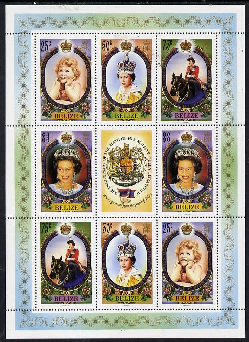 Belize 1986 60th Birthday of Queen Elizabeth II perf sheetlet containing 2 sets of 4 plus label unmounted mint SG 905-8