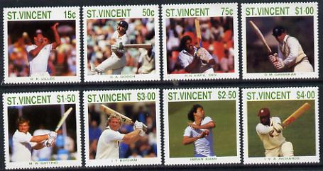 St Vincent 1988 Cricketers perf set of 8 unmounted mint SG 1144-51
