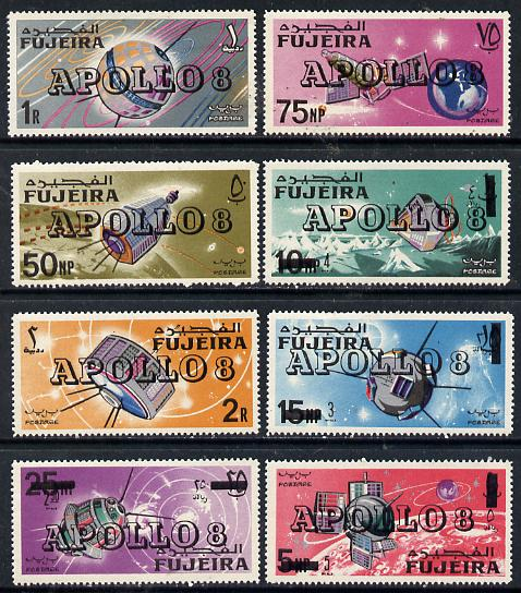 Fujeira 1969 Space Achievements perf set of 8 with Apollo 8 opt, Mi 341-48A unmounted mint