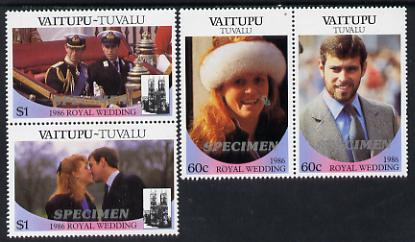 Tuvalu - Vaitupu 1986 Royal Wedding (Andrew & Fergie) set of 4 (2 se-tenant pairs) overprinted SPECIMEN in silver unmounted mint