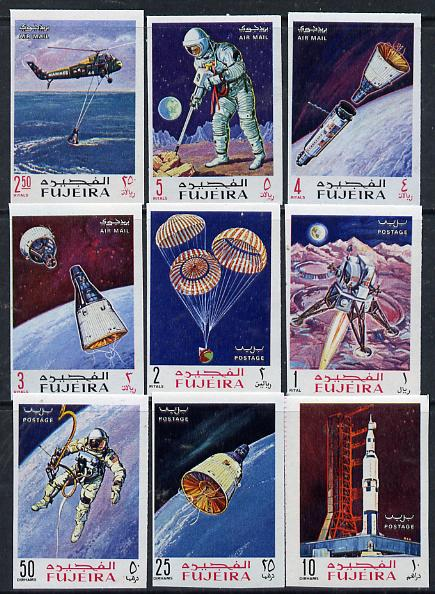 Fujeira 1969 Apollo Space Flights imperf set of 9 unmounted mint, Mi 390-98B