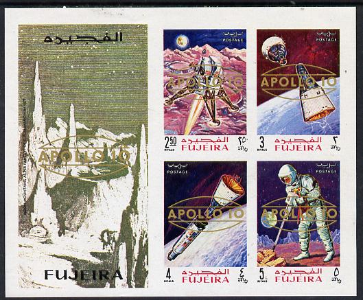 Fujeira 1969 Apollo Space Flights imperf m/sheet opt'd Apollo 10, Mi BL 15B unmounted mint