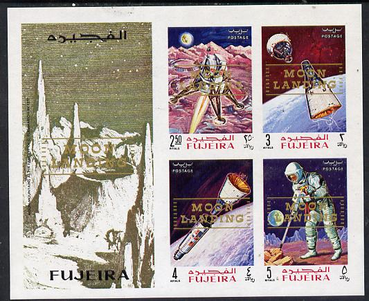 Fujeira 1969 Apollo Space Flights imperf m/sheet with Moon Landing opt unmounted mint, Mi BL 16B