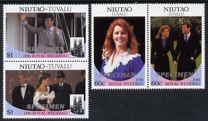 Tuvalu - Niutao 1986 Royal Wedding (Andrew & Fergie) set of 4 (2 se-tenant pairs) overprinted SPECIMEN unmounted mint