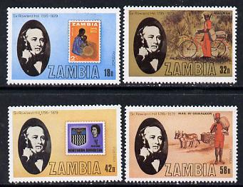 Zambia 1979 Rowland Hill set of 4 unmounted mint, SG 296-99*
