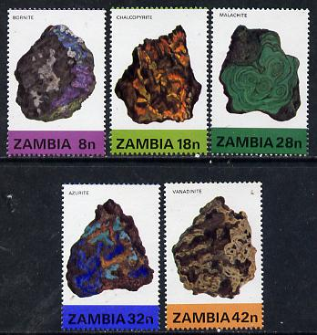 Zambia 1982 Minerals (2nd Series) set of 5 unmounted mint, SG 370-74*