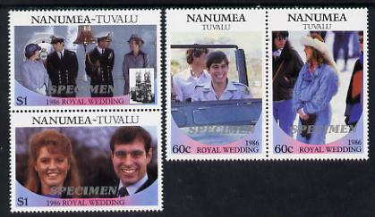 Tuvalu - Nanumea 1986 Royal Wedding (Andrew & Fergie) set of 4 (2 se-tenant pairs) overprinted SPECIMEN in silver unmounted mint