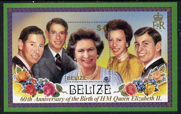 Belize 1986 60th Birthday of Queen Elizabeth II perf m/sheet unmounted mint SG MS 909
