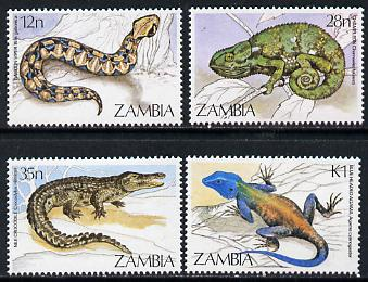 Zambia 1984 Reptiles set of 4 unmounted mint, SG 412-15
