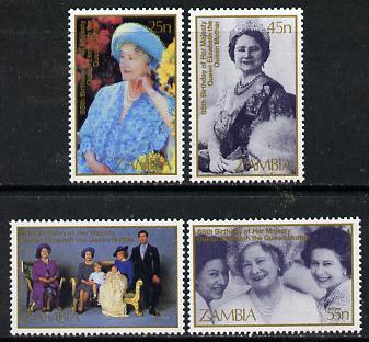 Zambia 1985 Life & Times of HM  Queen Mother set of 4 unmounted mint, SG 432-35*