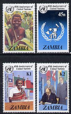 Zambia 1985 United Nations 40th Anniversary set of 4 unmounted mint, SG 445-48*