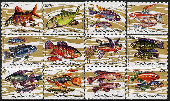 Guinea - Conakry 1971 Fish perf set of 12 unmounted mint SG 729-40*