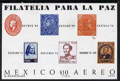 Mexico 1974 'Exfilmex 74' Stamp Exhibition imperf m/sheet, SG MS 1317 unmounted mint