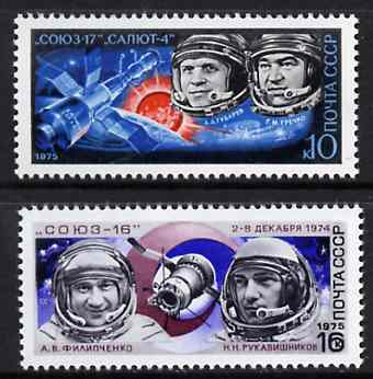 Russia 1975 Cosmonautics Day #2 set of 2 unmounted mint, SG 4382-83, Mi 4343-44*