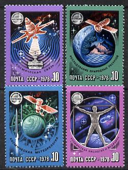 Russia 1978 Space Research set of 4 unmounted mint, SG 4772-75, Mi 4730-33*
