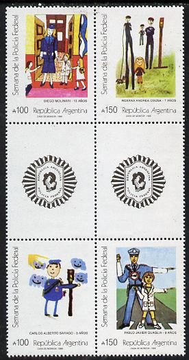 Argentine Republic 1989 Federal Police Week (Paintings) set of 4 (2 se-tenant gutter pairs) unmounted mint SG 2180-83
