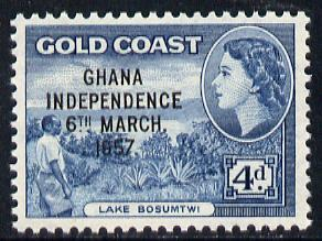 Ghana 1957-58 Lake Bosumtwi 4d with Independence opt unmounted mint SG 176*