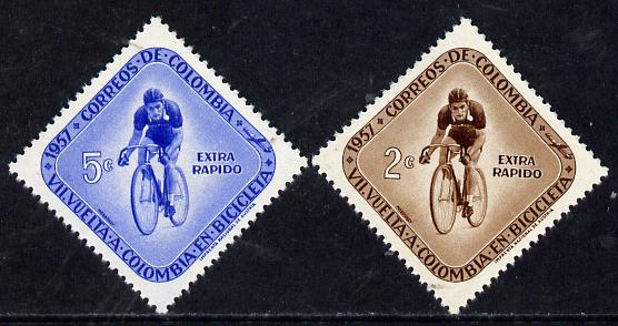 Colombia 1957 Cycle Race (Diamond Shaped) set of 2, SG 916-17 unmounted mint*