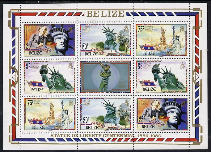 Belize 1986 Centenary of Statue of Liberty perf sheetlet containing 2 sets of 4 plus label unmounted mint SG 924-7