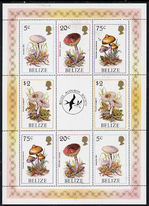 Belize 1986 Fungi - Audubon Society perf sheetlet containing 2 sets of 4 plus label unmounted mint SG 962, 964, 966 & 969