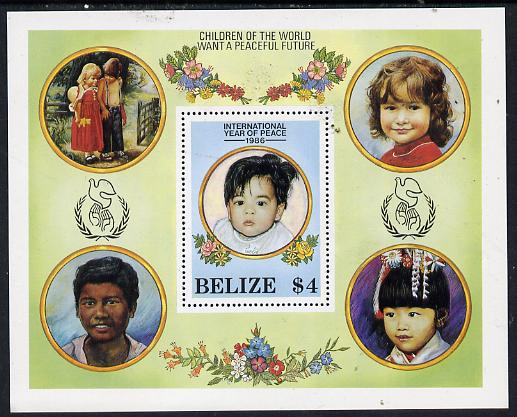 Belize 1986 International Peace Year perf m/sheet unmounted mint SG MS 961