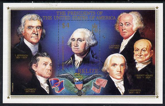 Belize 1986 United States Presidents perf m/sheet unmounted mint SG MS 923