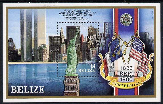 Belize 1986 Centenary of Statue of Liberty perf m/sheet unmounted mint SG MS 928