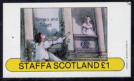 Staffa 1982 Scenes from Shakespeare's Plays (Romeo & Juliet) imperf souvenir sheet (�1 value) unmounted mint