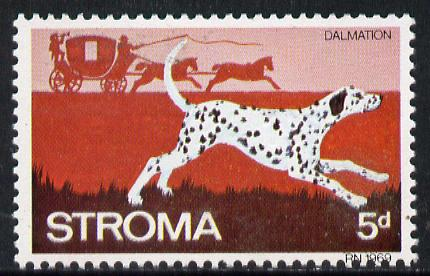 Stroma 1969 Dogs 5d (Dalmation) perf single with 'Europa 1969' albino opt unmounted mint*