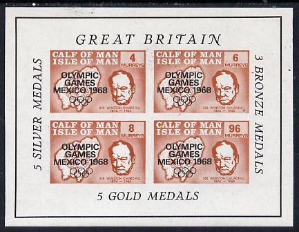 Calf of Man 1968 Olympic Games Mexico overprinted on Churchill imperf m/sheet (4, 6, 8 & 96m brown) additionally opt