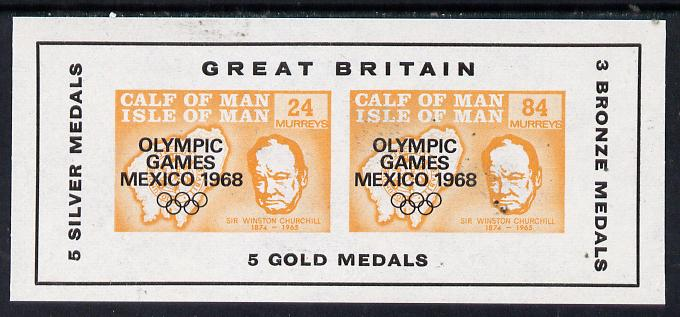 Calf of Man 1968 Olympic Games Mexico overprinted on Churchill imperf m/sheet (24m & 84m orange) additionally opt