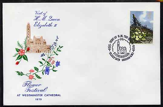 Great Britain 1979 Illustrated cover commemorating the  Queen's visit to the Flower Festival at Westminster Cathedral, bearing 9d Flower stamp with special commem cancel