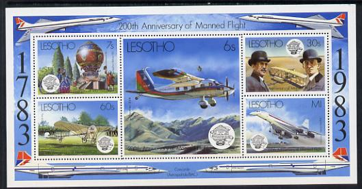 Lesotho 1983 Manned Flight m/sheet unmounted mint SG MS 549