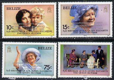 Belize 1985 Commonwealth Summit Conference opt set of 4 unmounted mint SG 852-5, stamps on constitutions, stamps on queen mother, stamps on royalty