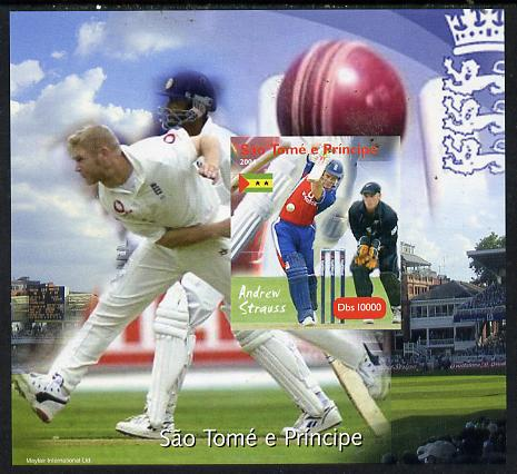 St Thomas & Prince Islands 2004 Cricket - Andrew Strauss imperf souvenir sheet unmounted mint. Note this item is privately produced and is offered purely on its thematic appeal