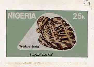Nigeria 1987 Shells - original hand-painted (unaccepted) artwork for 25k value (Bloody Cockle) by Clement O Ogbebor on card 8.5 x 5 endorsed C4
