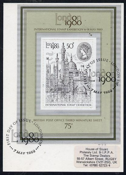 Great Britain 1980 'London 1980' Stamp Exhibition PHQ card bearing appropriate m/sheet fine used with first day commemorative cancel