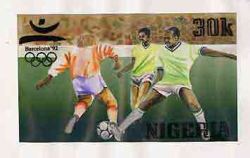 Nigeria 1992 Barcelona Olympic Games (2nd issue) - original hand-painted artwork for 30k value (Football) by NSP&MCo Staff Artist F O Abdul, on board 8.5 x 5 endorsed D3