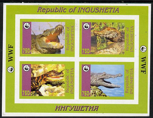 Ingushetia Republic 1996 WWF imperf sheetlet containing complete set of 4 Crocodiles unmounted mint