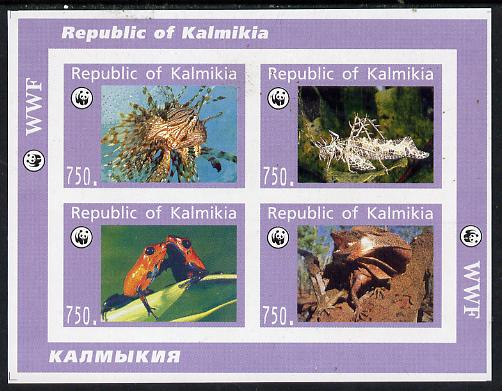 Kalmikia Republic 1996 WWF (Reptiles, Fish & Insect) imperf sheetlet containing complete set of 4 unmounted mint
