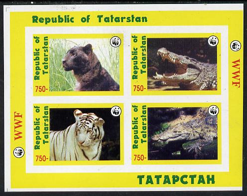 Tatarstan Republic 1996 WWF imperf sheetlet containing complete set of 4 (Big Cats & Crocodiles) unmounted mint