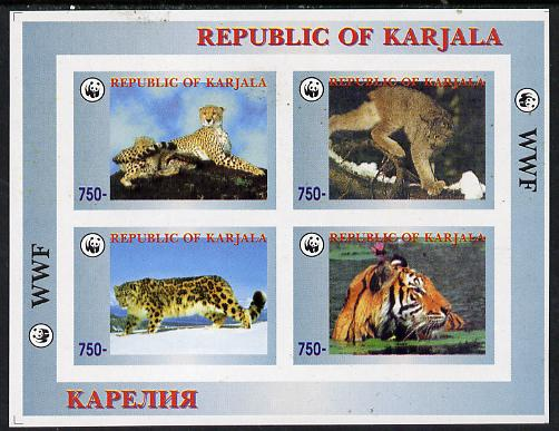Karjala Republic 1996 WWF imperf sheetlet containing complete set of 4 Animals (Big Cats) unmounted mint