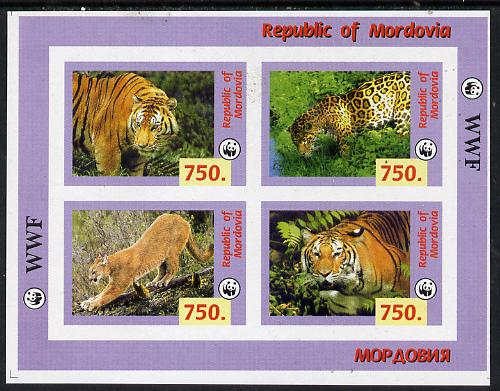 Mordovia Republic 1996 WWF imperf sheetlet containing complete set of 4 Animals (Big Cats) unmounted mint