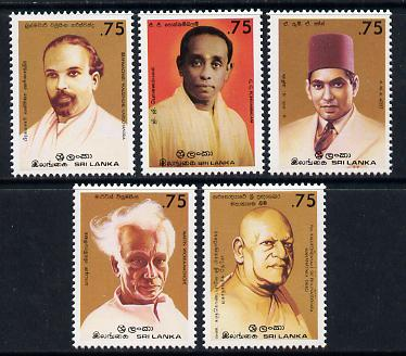 Sri Lanka 1986 National Heroes set of 5 unmounted mint, SG 943-7