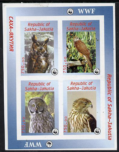 Sakha (Yakutia) Republic 1996 WWF imperf sheetlet containing complete set of 4 Birds of Prey unmounted mint