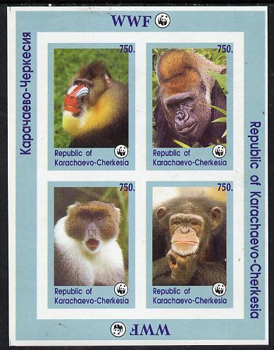 Karachaevo-Cherkesia Republic 1996 WWF imperf sheetlet containing complete set of 4 Monkeys unmounted mint