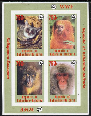 Kabardino-Balkaria Republic 1996 WWF imperf sheetlet containing complete set of 4 Monkeys unmounted mint
