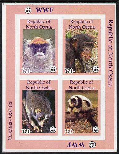 North Ossetia Republic 1996 WWF imperf sheetlet containing complete set of 4 Monkeys unmounted mint