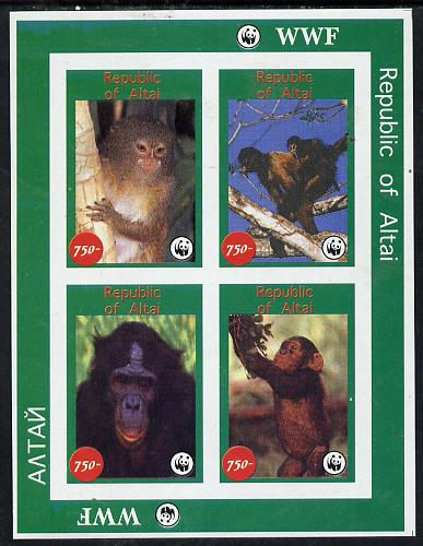 Altaj Republic 1996 WWF imperf sheetlet containing complete set of 4 Monkeys unmounted mint